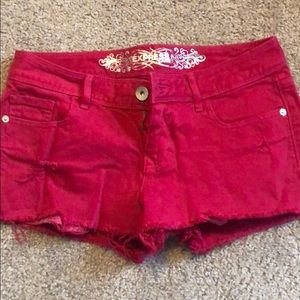 Express Jean shorts with distressed touches
